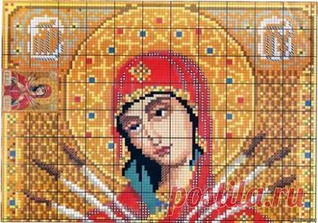 Ч1 Образ Богородицы Семистрельная. Цветная схема для вышивки крестиком бисером