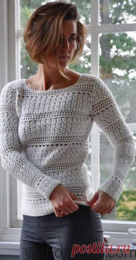 Тонкий пуловер крючком 2021. Свитер крючком женский схемы