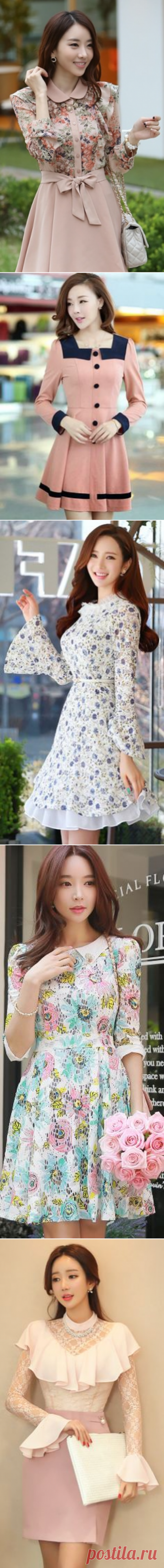Cute Light Pink Floral Top Dress | Great Outfits | Floral, Lights and Korean fashion
