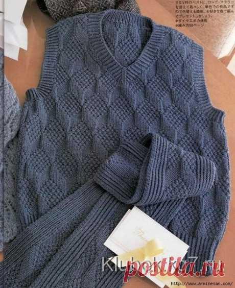 Мужской жилет и шарф из категории Интересные идеи – Вязаные идеи, идеи для вязания