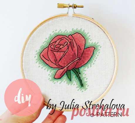 Авторская схема вышивки крестом с розой, цветы, природа, e-pattern.ru