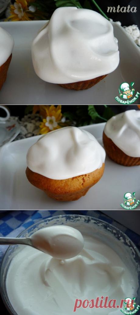 Белковый крем с желированным сахаром - хорошо держит форму, не покрываестя сухой корочкой
