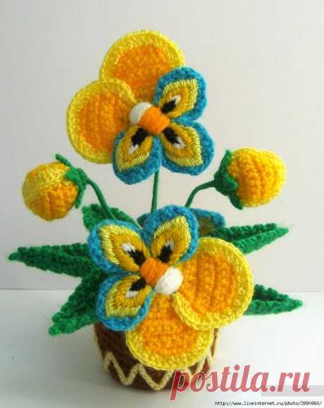 красивые горшочки с цветами без схем