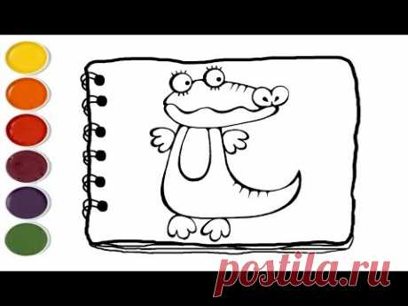 💎  Crocodile Drawing and Coloring Pages for Kids | Coloring Pages For Kids | Kids drawing easy - YouTube
