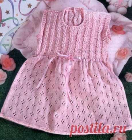 Платье для девочки спицами: схема вязания и описание