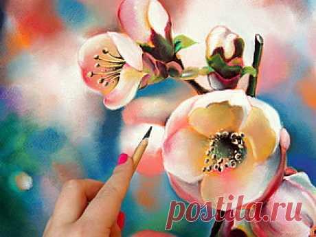 Мастер-класс: рисуем пастелью цветущую вишню Всех приветствую! Ну вот, наконец-то закончила обещанный мастер-класс, а так как сейчас самое приятное время года - время цветения, то и сюжет решила выбрать соответствующий - веточку цветущей вишни)) В процессе рисования буду использовать яркие и насыщенные цвета, ведь начало лета - время радости и ярких красок, так что грустить сейчас точно не время!