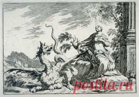 Святая Маргарита и дракон. Офорт Доминико Маттиоли | Бестиарий