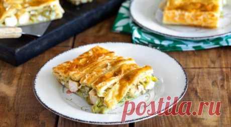 Пирог с курицей, пореем и сыром бри — Sloosh – кулинарные рецепты