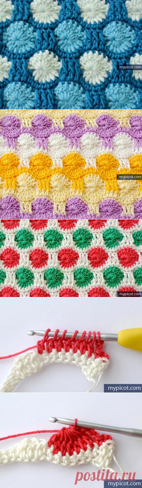Вязание Разноцветные строчки. Узор крючком.
