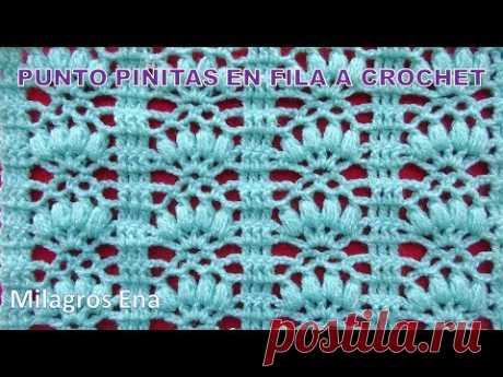 Punto calado Piñitas en fila tejido a crochet para prendas de verano como blusas