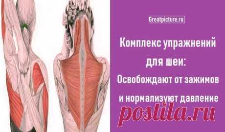 Комплекс упражнений для шеи: Освобождают от зажимов   Комплекс упражнений для шеи: Освобождают от зажимов и нормализуют давление.Следующие упражнения предназначены для расслабления напряжённых мышц шеи и все вместе должны занимать 4–5 минут в день. Эти…