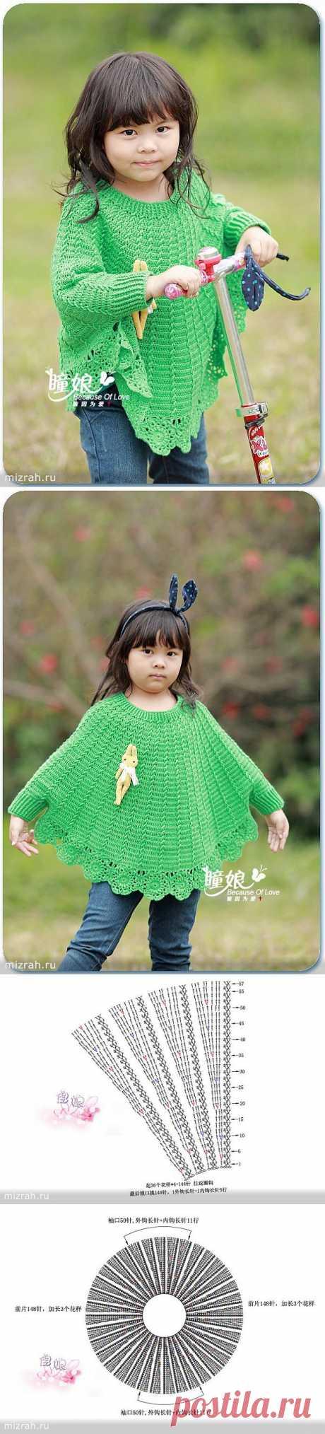 Пончо-пуловер крючком для девочек.