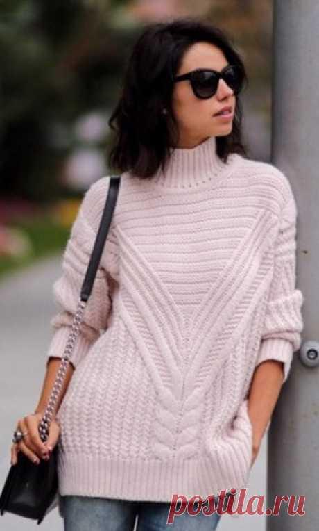 Пуловер из жгутов спицами / Вязание