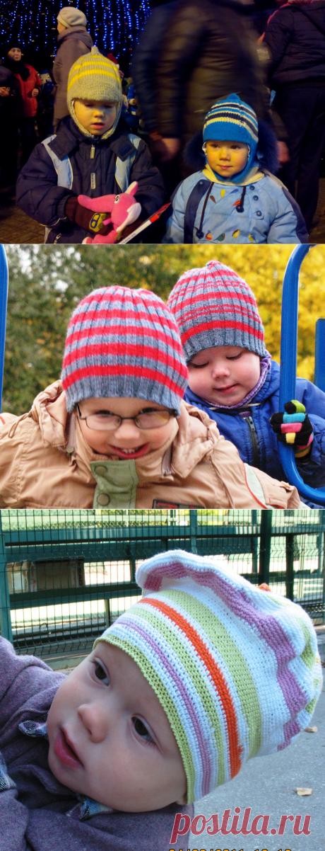 К вопросу о полосках: детские полосатые шапки