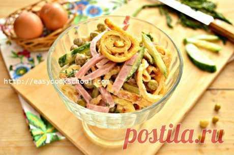Салат с яичными блинчиками: рецепт с фото | Легкие рецепты