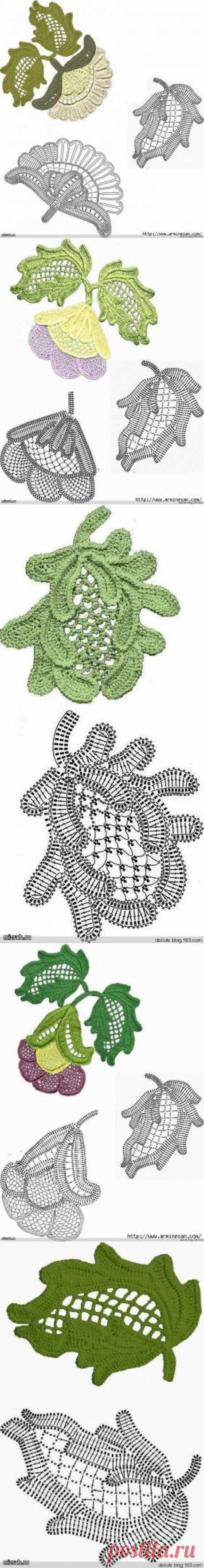 Цветы и листья для ирландского кружева.