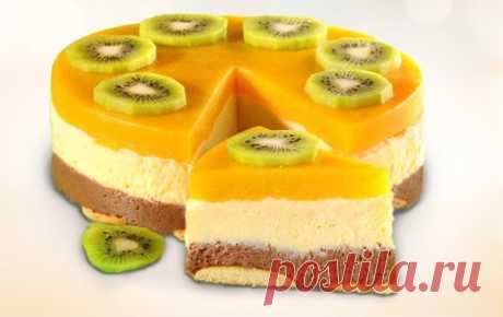 «Манный» торт с фруктами без выпечки. Рецепт с фото