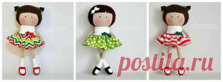 Милые куколки из ткани с выкройками А: платье-туловище/B: рука /C :нога/ D: передние волосы /Е: косичка /F: голова / H: волосы сзади Источник