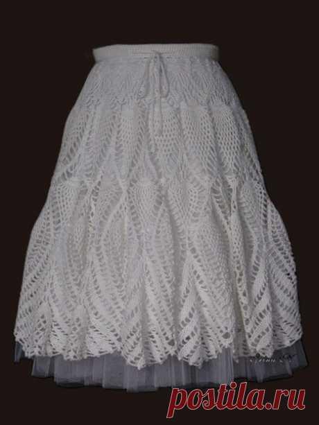 Длинная юбка крючком с узором ананасы. Летняя белая юбка крючком со схемами.   Домоводство для всей семьи