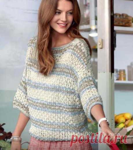 Хлопковый ажурный пуловер со широкими рукавами схема спицами » Люблю Вязать