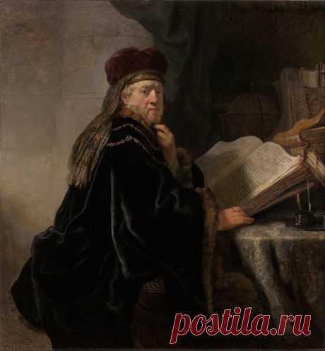 Ученый в кабинете - Рембрандт. 1634. Холст, масло. 145х134,9. Выставлена в музее: Национальная галерея (Прага). Представляя ученого в кабинете, Рембрандт (1606-1669) использует сложившийся в XVII веке во Фландрии тип изображений человека за своим профессиональным занятием. Но ему, в отличие от фламандских мастеров, удается избежать ощущения позирования модели, благодаря чему картина, теряя черты официальности, становится более естественной.