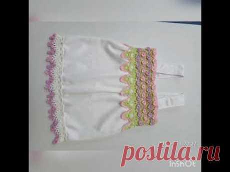 Летний топ для девочки (итог) комбинированное вязание кружево +ткань - YouTube