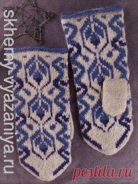 """Варежки в стиле Гжель """"Цветы на снегу"""" - схема вязания спицами"""
