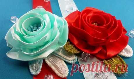 Роза из лент: используем картонную полоску (шаблон)