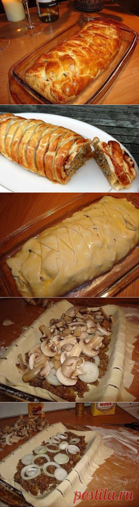 Быстрый пирог с грибами и мясом. Сытный, быстрый большой пирог с мясом к вечернему ужину!