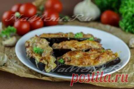 Boats from eggplants in an oven