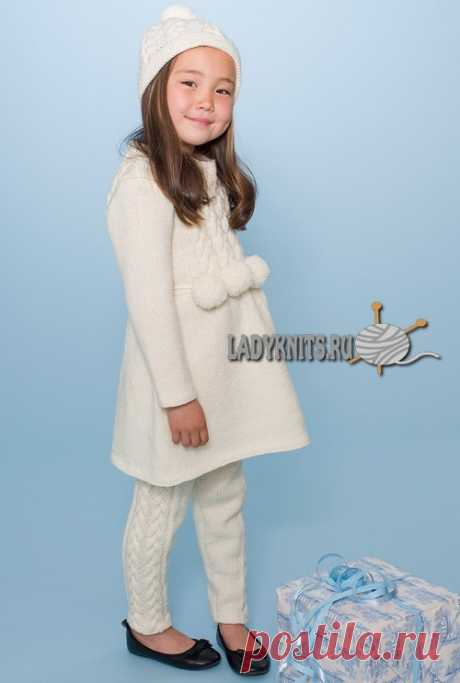 Knitted spokes a beautiful warm dress for the girl from 2 to 10 years and leggings to it, the description