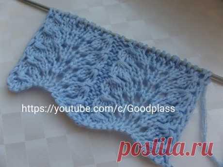 Вяжем красивый ажурный узор спицами. Knitting
