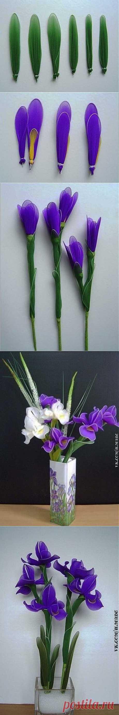 Цветы из капрона. Ирисы.