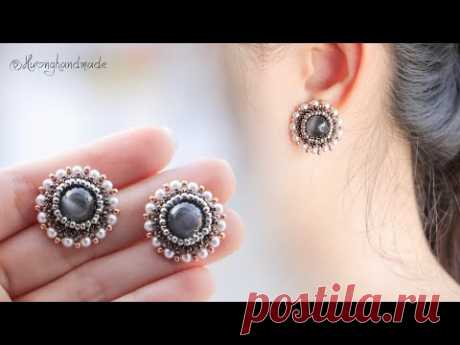Moonlight mysteries earrings DIY. How to make beaded stud earrings