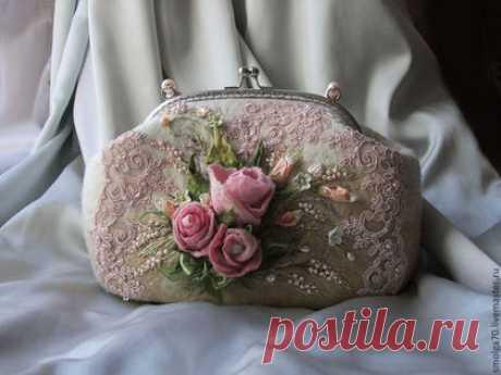 """Купить сумочка """"Дыхание Весны"""" - розовый, розы, бутоны роз, винтаж, Валяние, валяная сумка"""
