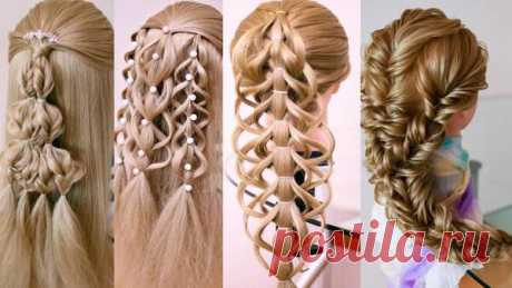 Очень красивые косы без плетения. Праздничные причёски. Смотрите подробные видео уроки. | Люблю Себя
