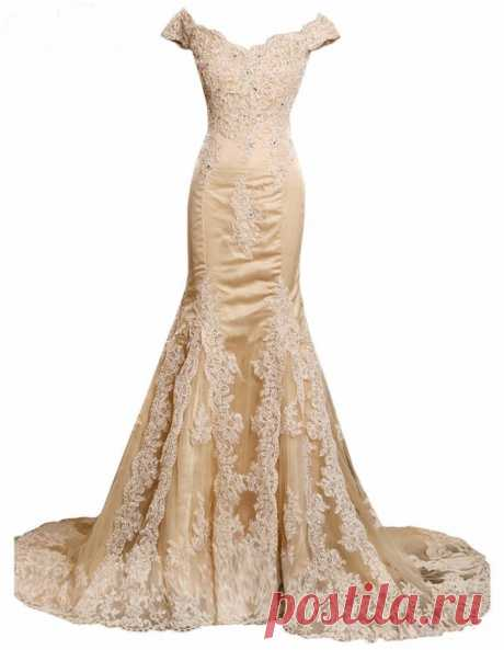 Elegant Champagne Mermaid V-Neck Prom Dresses Appliques Beading Tulle Lace  Evening Dresses on Luulla fe31c2f22