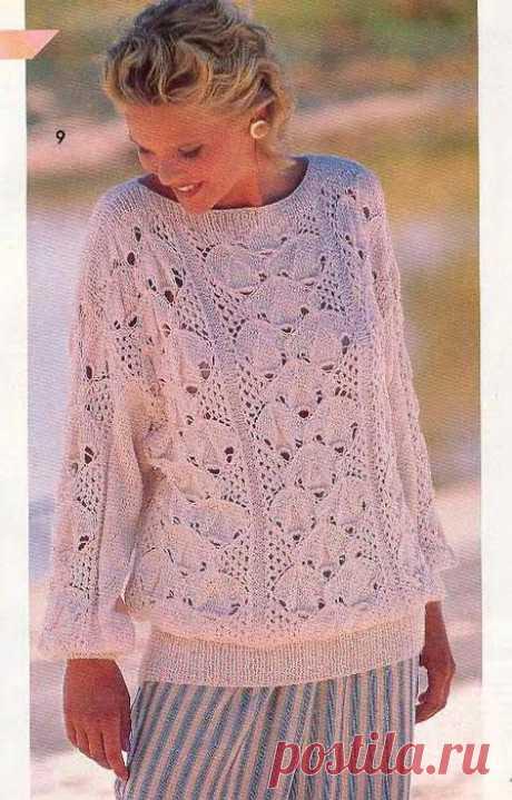 Спицы.Пуловер с вырезом в лодочку