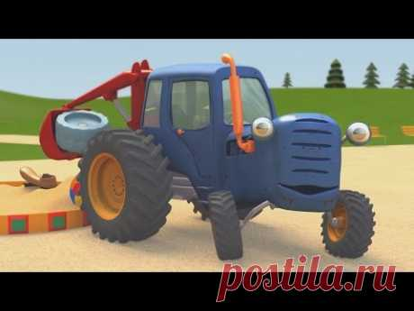 The developing animated cartoons about machines   the Blue Tractor Gosha   the Big truck on a playground