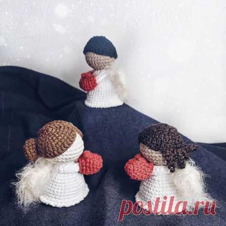 Рождественские ангелочки крючком   Амигуруми