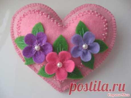 Приятные мелочи - игольница-сердечко из фетра - Фетр и Флис - настоящий источник для творчества - Страна Мам