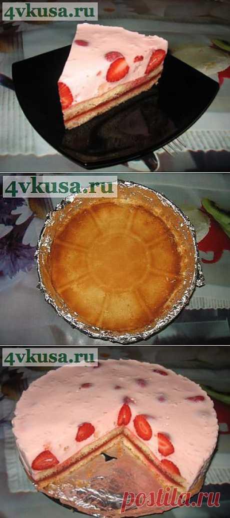 Йогуртовый торт с клубникой (торт без выпечки). Фоторецепт. | 4vkusa.ru