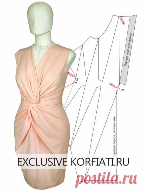 Выкройка платья с драпировкой на талии от Анастасии Корфиати