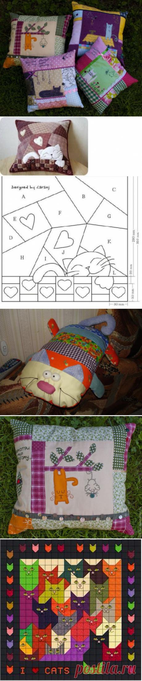 Las almohadas decorativas en el estilo pechvork