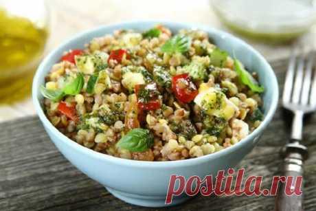 Салат с гречневой кашей и овощами – пошаговый рецепт с фото.