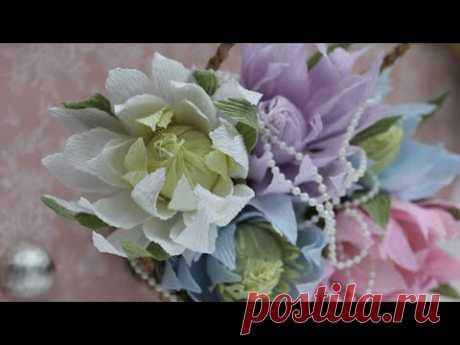 Кувшинка из бумаги / Водяная лилия своими руками / DIY Crepe paper Water lily - YouTube #свитдизайн #гофрированнаябумага