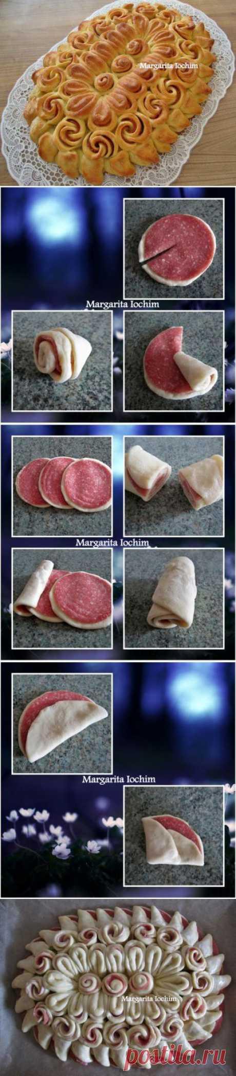Пирог из дрожжевого теста с колбасой «Салфетка» : Выпечка несладкая | вкуснятки | Постила