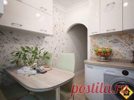 Маленькая уютная кухонька.   Обратили внимание на дополнительные шкафчики над столом. Если места не хватает - хорошая идея, правда?