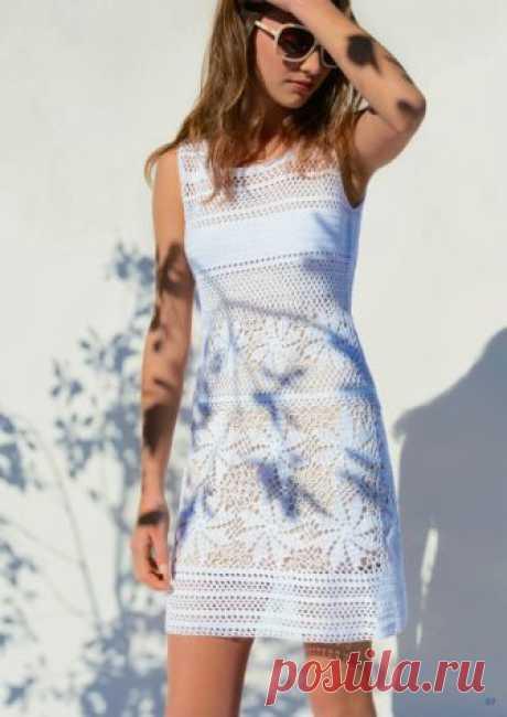 Белое ажурное платье крючком