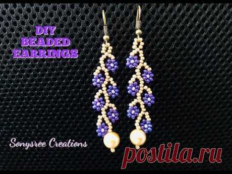 Daisy Vine Earrings. DIY Beaded Earrings. How to make beaded earrings.